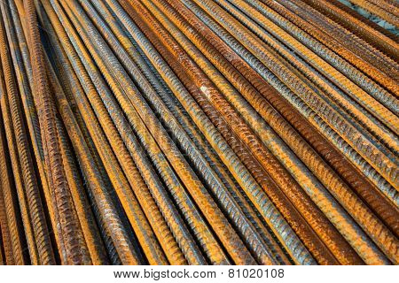 Metal Rusty Reinforcement Bars