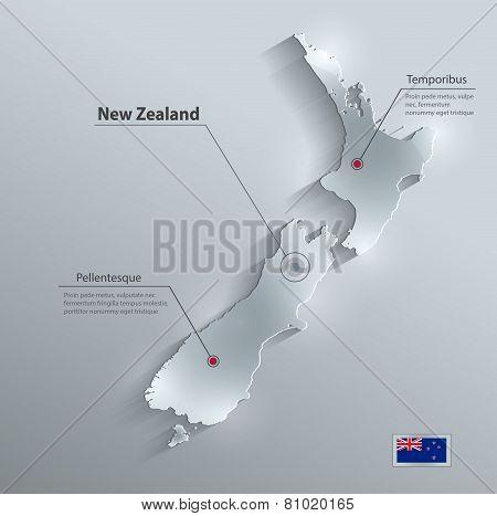New Zealand map flag glass card paper 3D vector