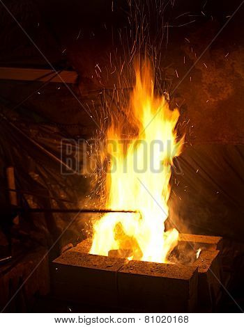 Smithy Fire With Sparks
