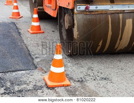 Tandem Road Roller And Traffic Cones On The Road Construction