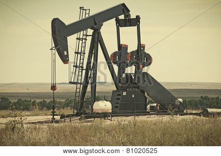 Pump Jack Lifting Crude Oil