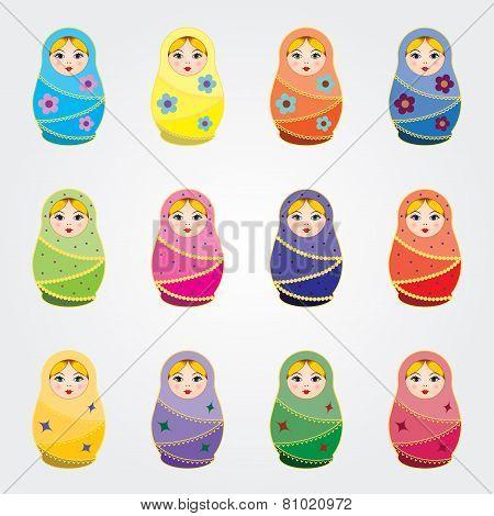 Russian traditional dolls Matryoshkas set