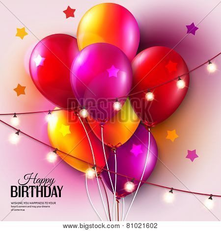 Vector colorful birthday card with balloons and hanging lights.