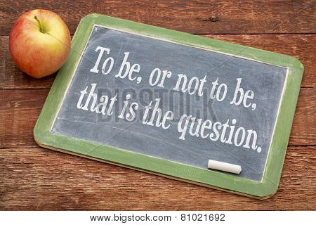To be, or not be, that is the question - text on a slate blackboard against red barn wood