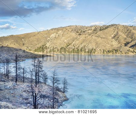 pine trees bunt by wildfire on the shore of frozen Seaman Reservoir in Rocky Mountains near Fort Collins, Colorado