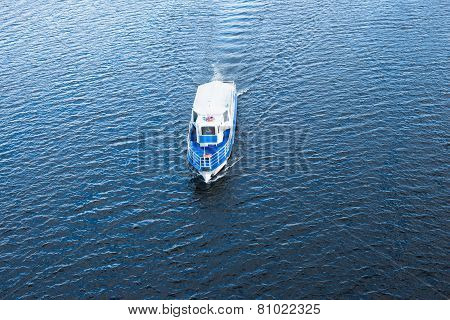 The Boat Floating In The Blue Dnieper Waters
