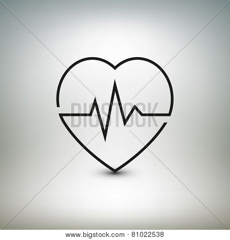 Heart beat icon, healthcare and medical vector illustration