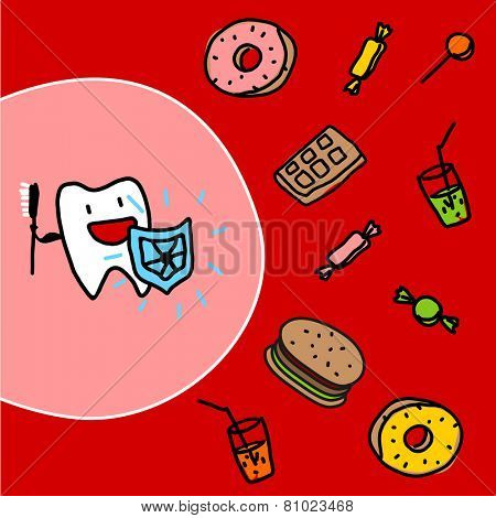 Strong tooth with a shield (raster version)