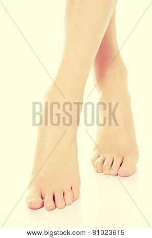 Beautiful fresh clean feet with pedicure.