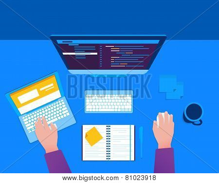 Man with computer and laptop