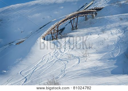 Old ski ramp in the snow