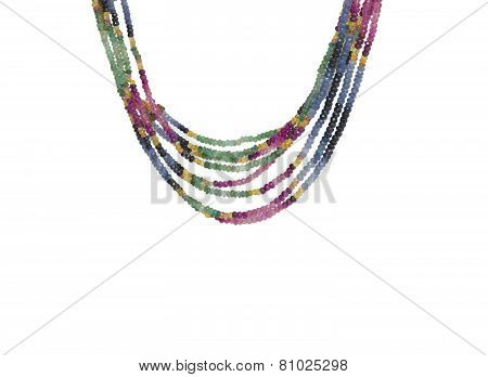 Colorful Beads Necklace Isolated On White Background