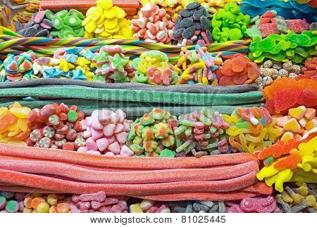 Piles of candy at the Boqueria