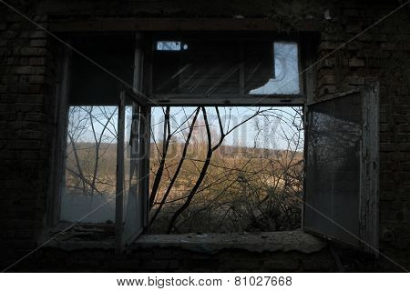 Abandoned building in the area of the former Soviet military base in Milovice, Czech Republic.