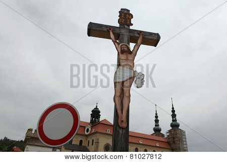 Crucifix in front of the Basilica of Assumption of Mary in Velehrad, South Moravia, Czech Republic.