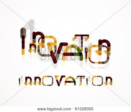 Innovation word concept, minimal line design