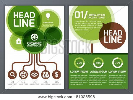 Set Of Vector Nature Organic Template For Brochure, Flyer, Poster, Application And Online Service. E
