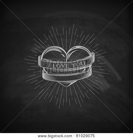 vector illustration of engraving heart,  ribbon and burst light rays emblem on the chalkboard textur