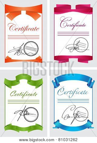 Certificate Set, Color Icons, Document Template, Vector Illustration