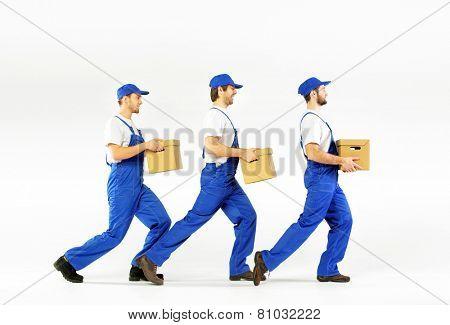 Three delivery men