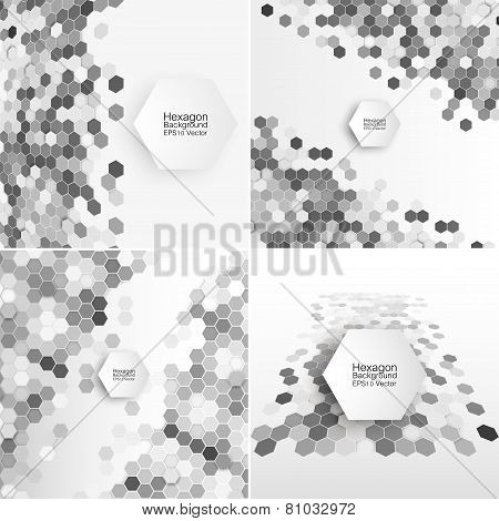 Geometric backgrounds set, abstract hexagonal patterns vector