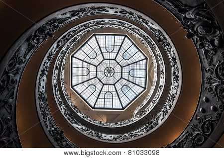 Spiral stairs of the Vatican Museums.