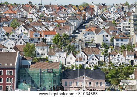 Aerial view of Stavanger city historical buildings in Stavanger, Norway.