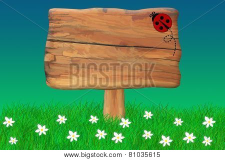 Ladybug Crawing On a Wooden Sign