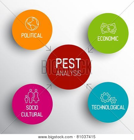 Simple colorful Vector PEST diagram schema