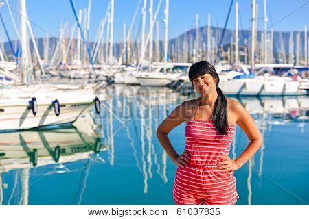 Beautiful Young Girl Posing In The Harbour