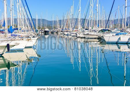 Harbuor With Yachts And Sailboats
