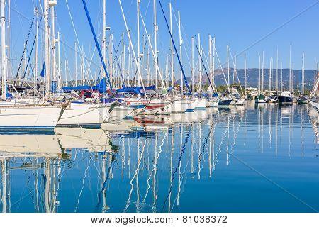 Harbuor With Yachts And Sailboats