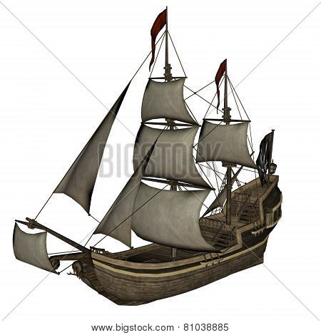 Smirking Mermaid, a Pirate Ship - 3D render