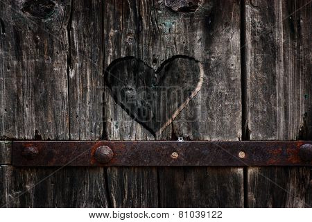 Heart Carved In Wood