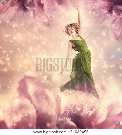 Beautiful Woman Jumping In A Pink Peony Flower Fantasy