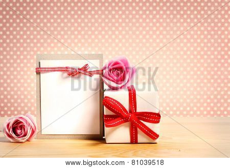 Gift Box With Pink Roses And Blank Message Card