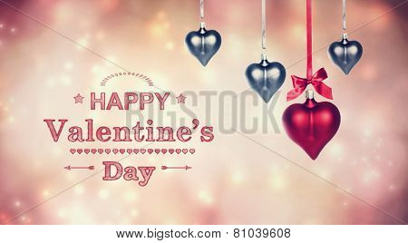 Happy Valentine's Day Message With Hanging Heart Ornaments