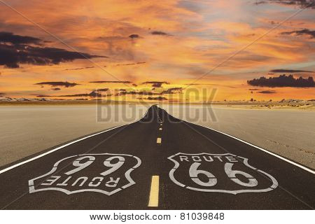 Romanticized rendition of Route 66 crossing a dry lake bed in the vast Mojave desert.
