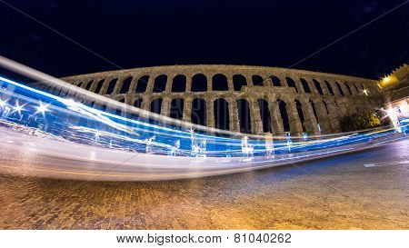Light smear at Segovia Aqueduct.