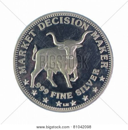 Bull silver coin