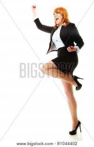 Girl Winner Celebrating Success In Job