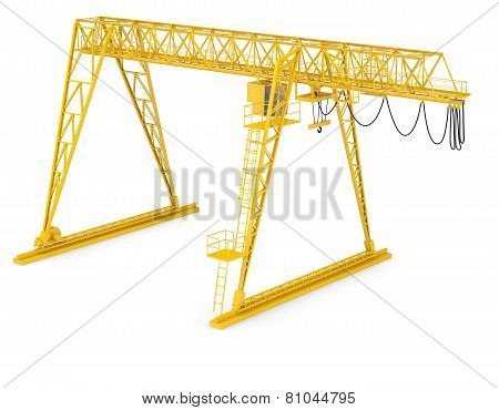 Yellow gantry bridge crane, half-turn