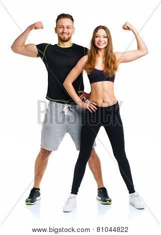 Athletic Man And Woman After Fitness Exercise On The White