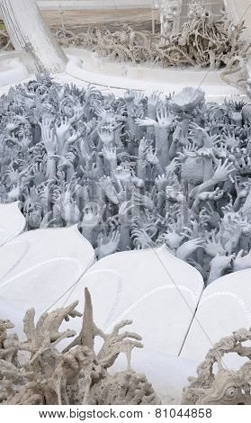 Hand Sculptures at White Temple