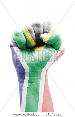South Africa Flag Fist Painted Isolated On White.