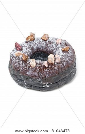 Chocolate Donut Isolated On White.