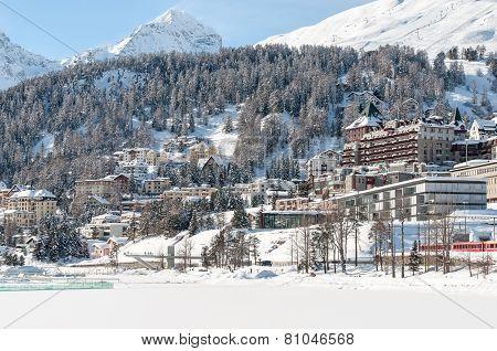 St. Moritz, Alps, Switzerland. Mountain ski resort with snow in winter.