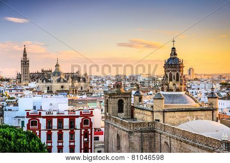 Seville, Spain city skyline at dusk.
