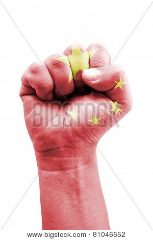 People's Republic Of China Flag Fist Painted Isolated On White.