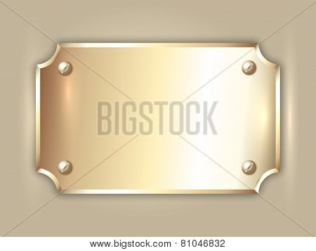 Vector abstract precious metal golden award plate